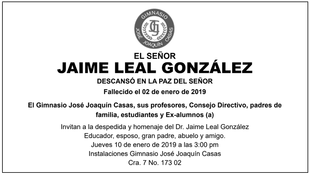 Ciprés de Colombia lamenta profundamente el fallecimiento del Dr. Jaime Leal González y los invita a su despedida y homenaje