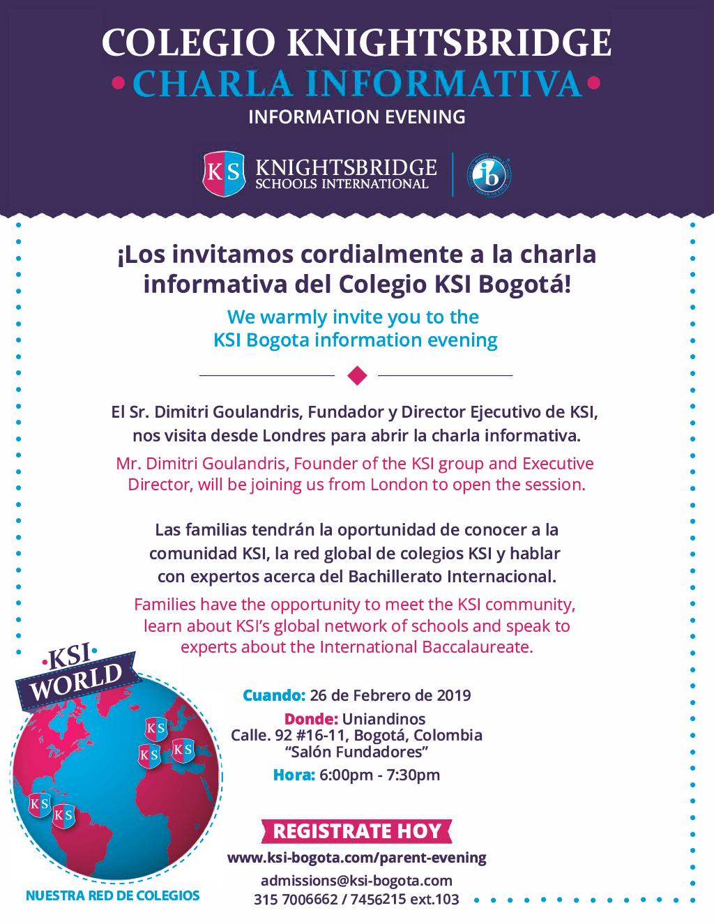 Knightsbridge Schools International KSI (Bogotá) - ¡AGENDATE ESTE 26 DE FEBRERO! Charla informativa dirigida por Sr Dimitri Goulandris acompañado por expertos que hablaran del bachillerato internacional