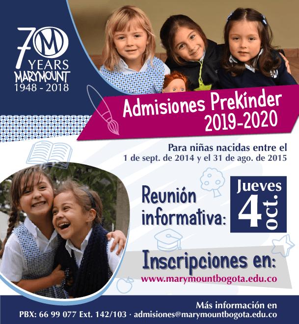 Admisiones Prekinder 2019 - 2020 - Colegio Marymount