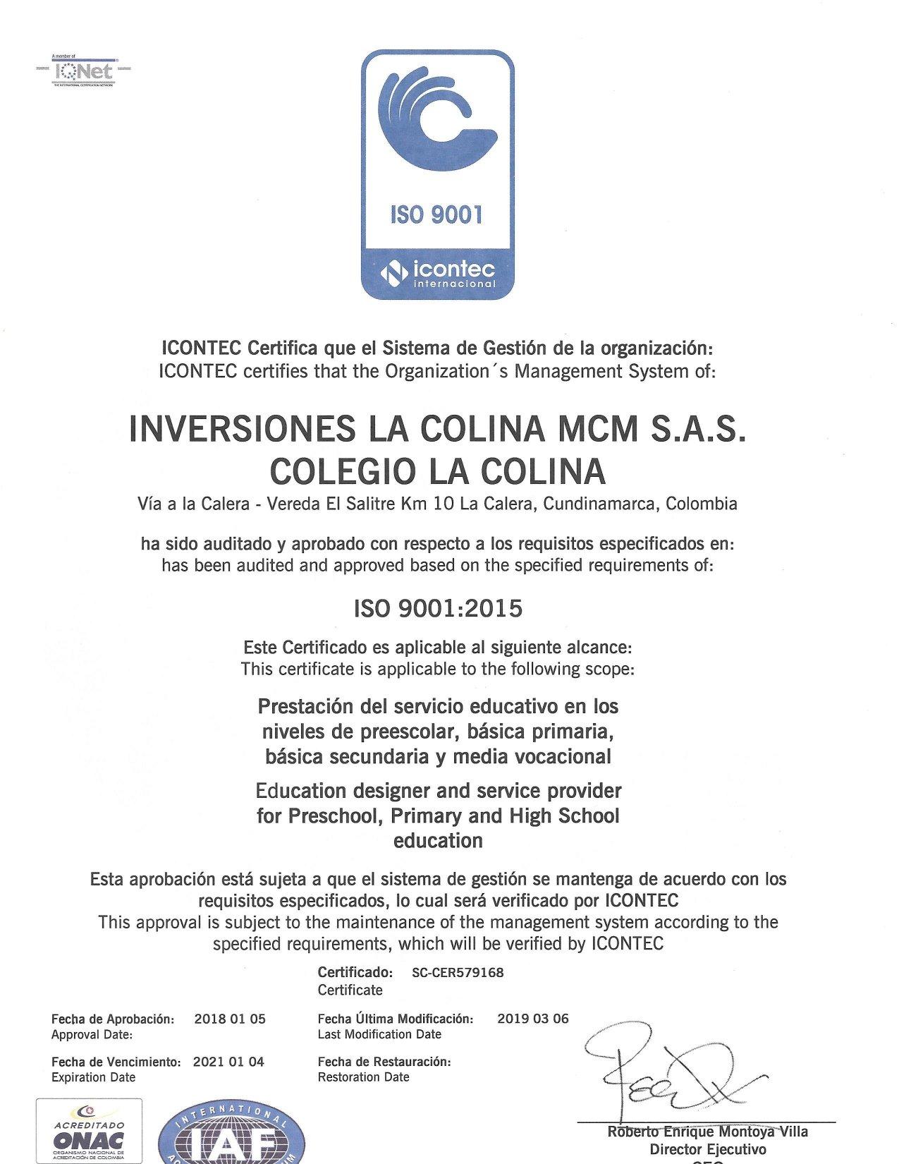 Certificación de Calidad del Colegio La Colina