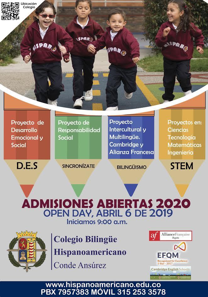 Admisiones abiertas 2020 en el Colegio Bilingüe Hispanoamericano