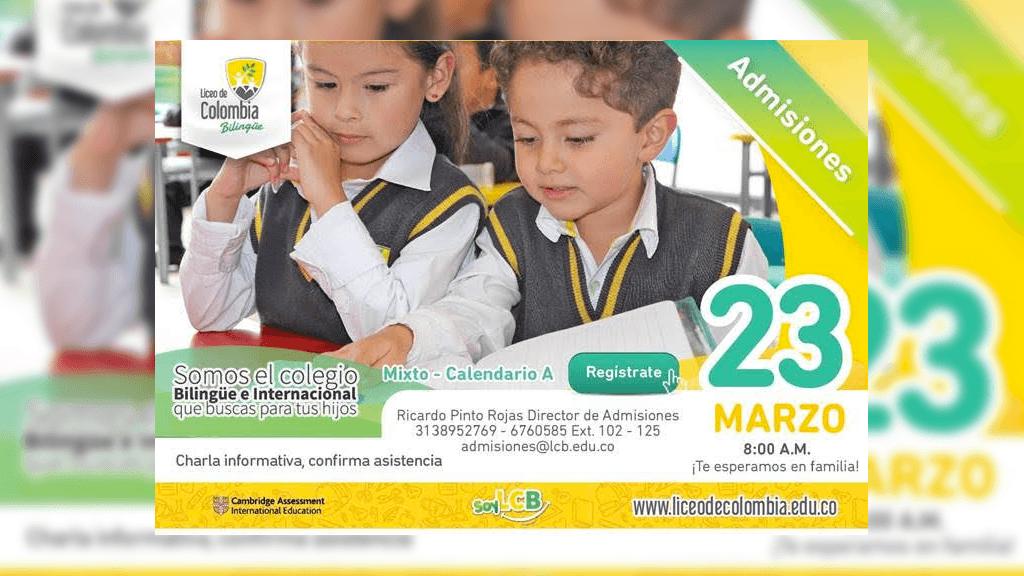 Open House el próximo 23 de Marzo en el Liceo de Colombia Bilingüe
