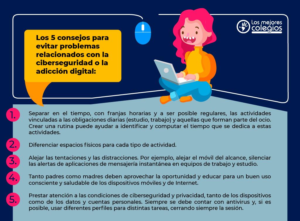 consejos para evitar problemas relacionados con la ciberseguridad o la adicción digital