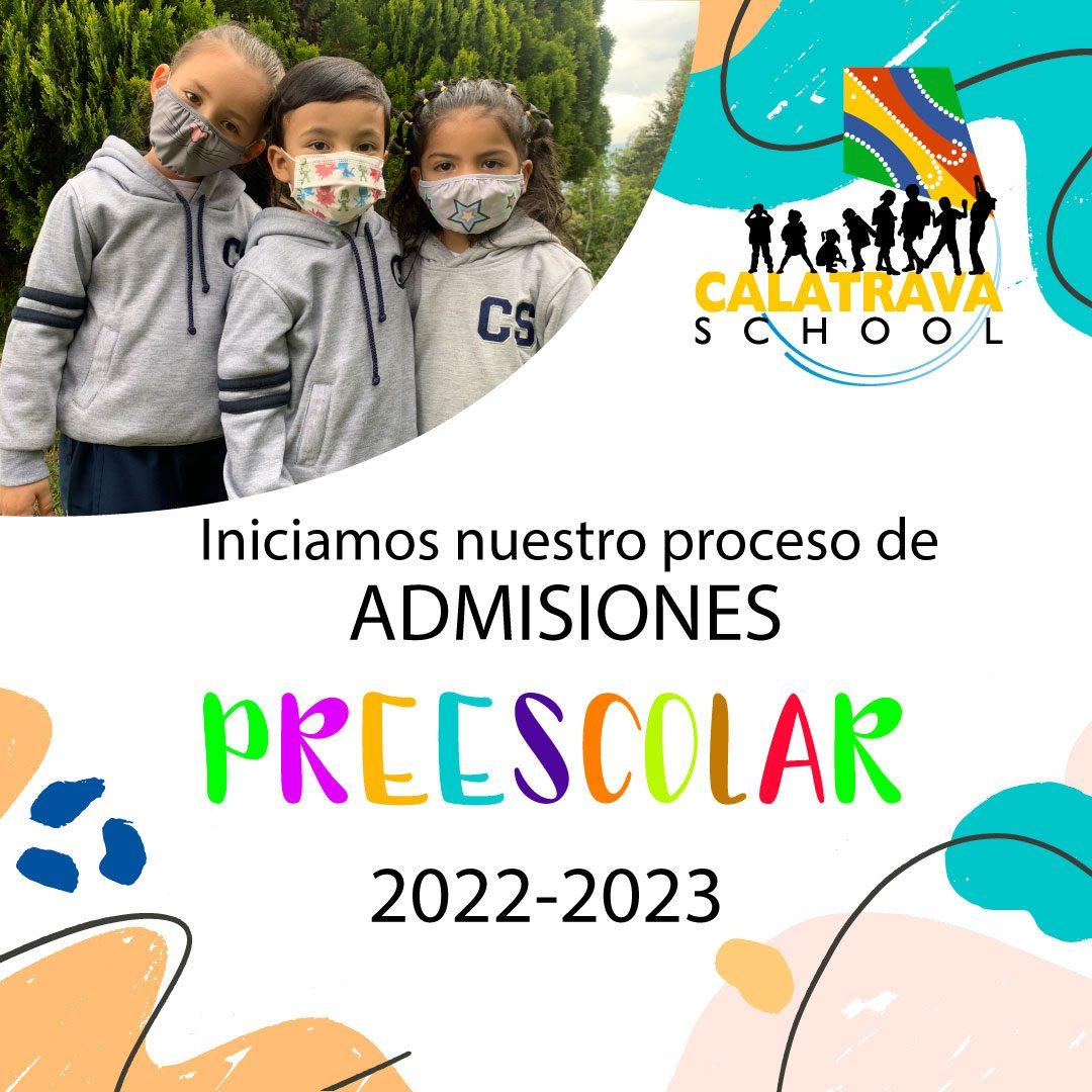 Admisiones abiertas preescolar ColegioCalatrava